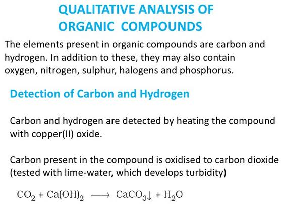 Qualitative Analysis of Organic Compounds detection of C and H