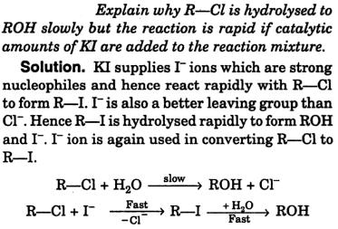 R-Cl is hydrolyzed to ROH slowly