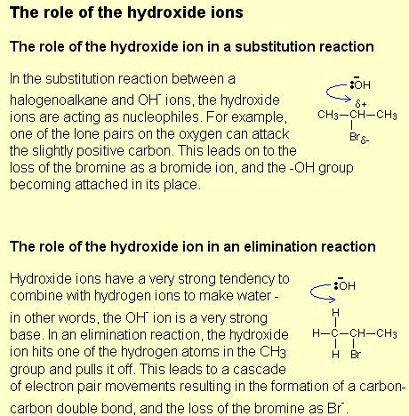 Role of OH- ion in substitution and elimination reaction