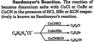 Sandmeyer's Reaction CuCl, CuBr, CuCN