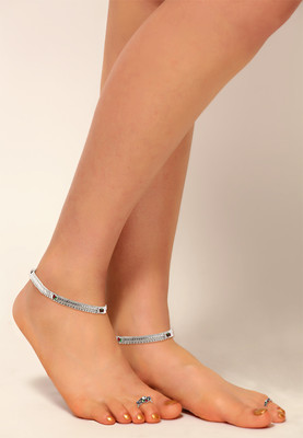 Silver Finish Anklets Toe Rings Studded