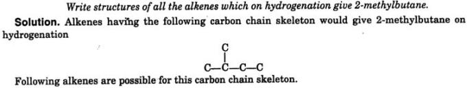 structure of all alkenes hydrogenation 1