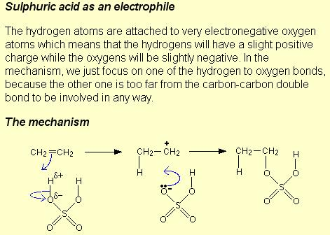 Sulphuric acid as electrophile