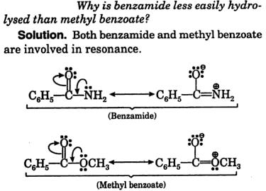 why is benzamide less easily hydrolysed than methyl benzoate