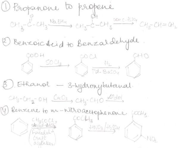 1 convert Propanone to propene