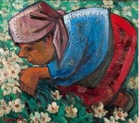 1 Man plucking flower painting