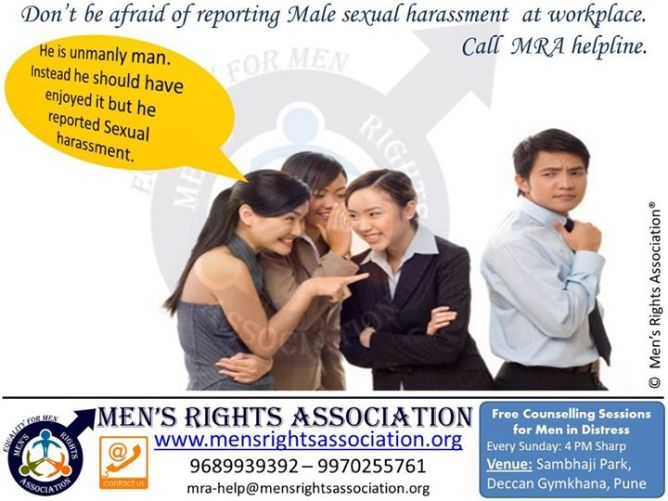 1 report male harassment at workplace