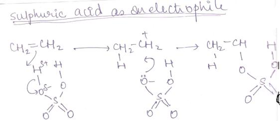 1 sulphuric acid as electrophile