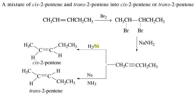 1b cis 2 pentene and trans 2 pentene convert