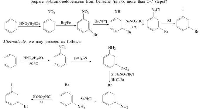 1b prepare m bromoiodobenzene from benzene