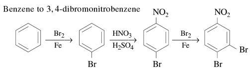 1c Benzene to 3,4-dibromonitrobenzene