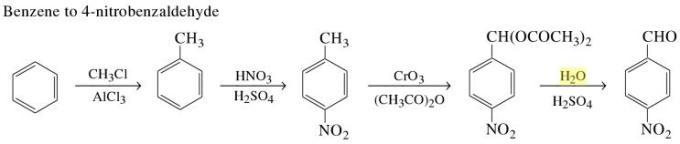 1c Benzene to 4-nitrobenzaldehyde