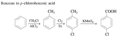 1c Benzene to p-chlorobenzoic acid