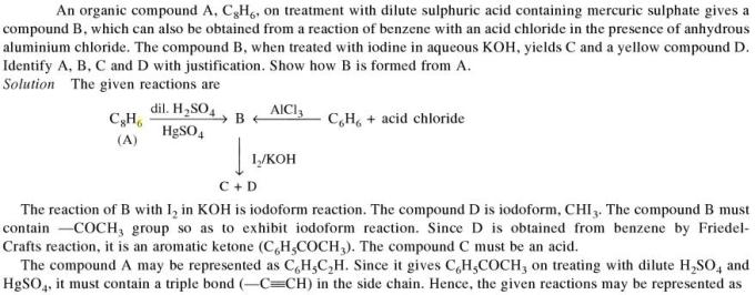 1c Organic compound A C8H6 on treatment