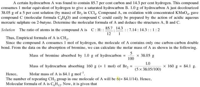 1d Certain hydrocarbon was found to contain 85.7% carbon
