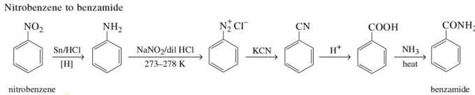 1d Nitrobenzene to benzamide