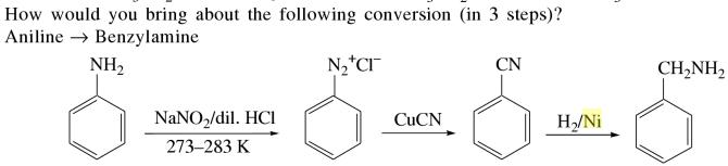 1e convertion of Aniline to Benzylamine