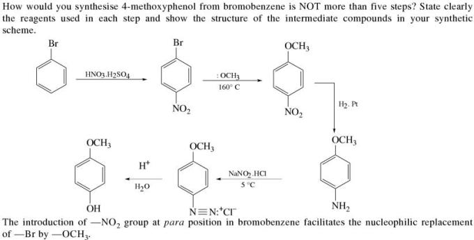 1f synthesis of 4 methoxyphenol from bromobenzene