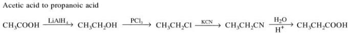 1g Acetic acid to propanoic acid