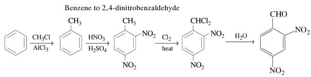 1g Benzene to 2,4-dinitrobenzaldehyde
