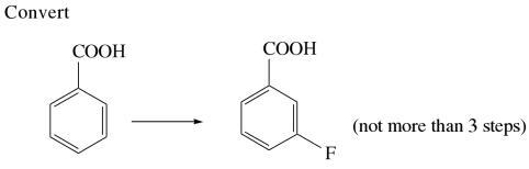 1h Convert Benzoicacid meta fluro benzoic acid
