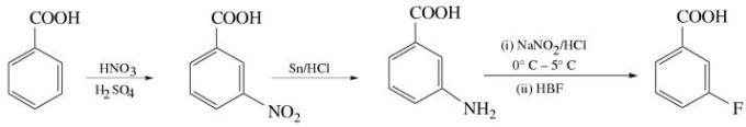 1j Convert Benzoicacid meta fluro benzoic acid