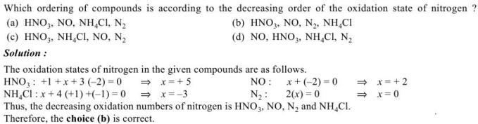 1j in decresing order of oxidation state of nitrogen