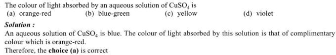 1k Color of light absorbed by aqueous solution of CuSO4