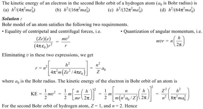 1k the Kinetic energy of an electron in the second Bohr orbit