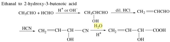 1l Ethanal to 2-hydroxy 3 butenoic acid