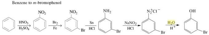 1m Benzene to m-bromophenol