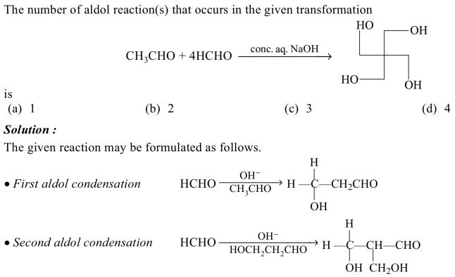 1m the number of aldol reactions that occurs