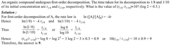 1n An organic compound undergoes first order decomposition