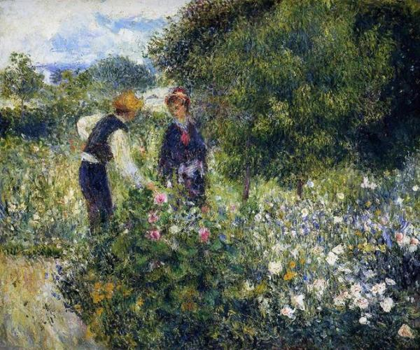2 painting talking in the garden of flowers