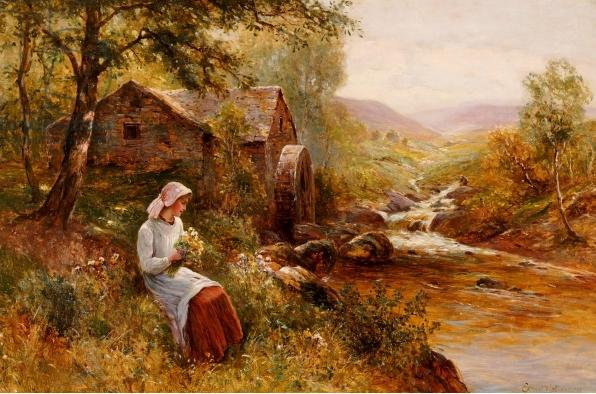 2 Painting Woman with flowers beside the stream