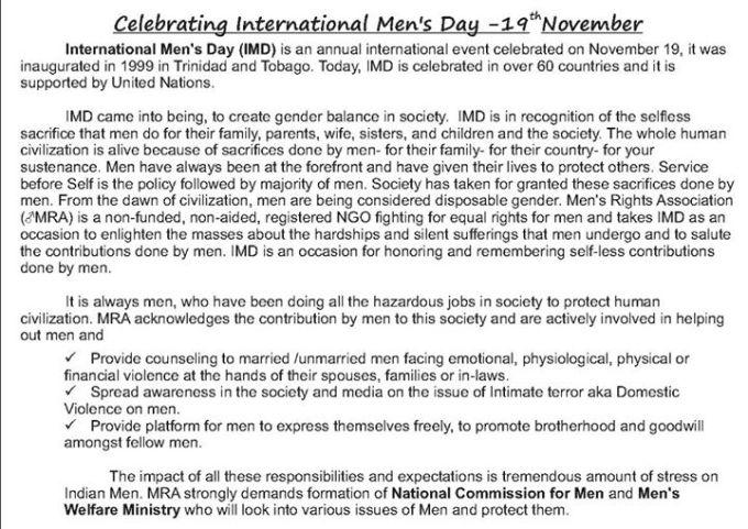 3 celebrating International mens day