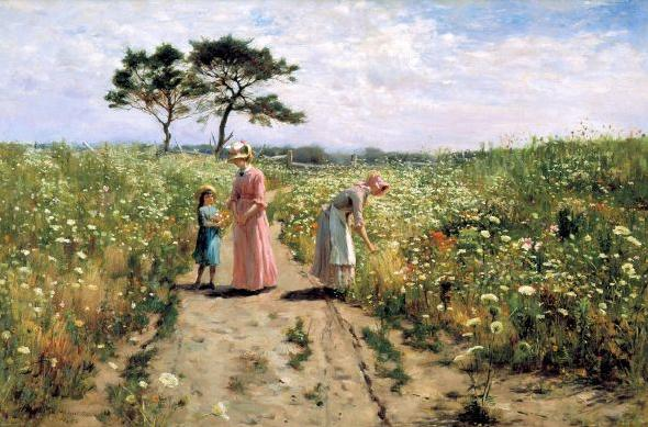4 Painting 2 women and a girl in wild flower garden