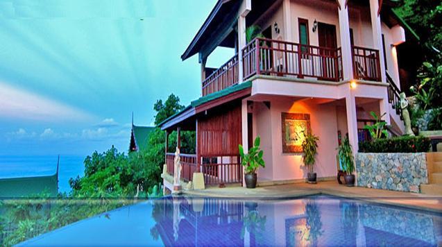 5 Blue green background luxury villa