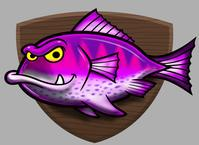 9 Pink fish in plate or wall