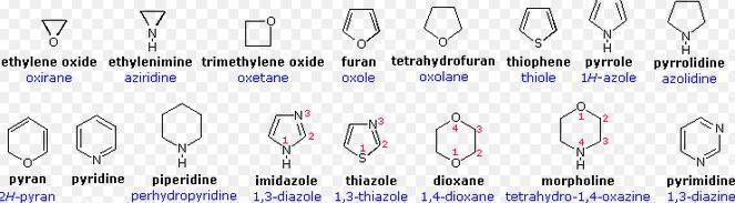 1 oxirane aziridine oxetane oxole oxolane thiophene pyran piperidine