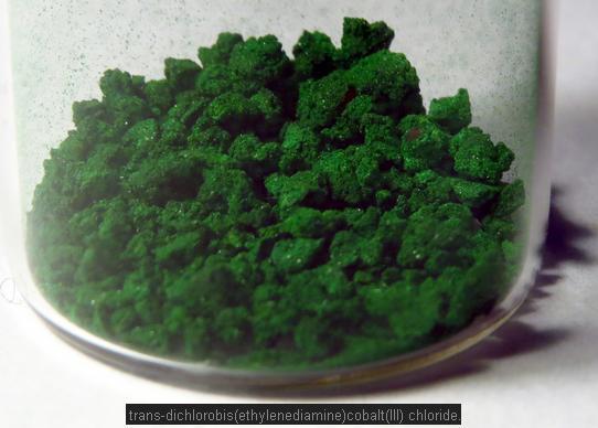 10 trans dichloro(ethylenediamine)Cobalt(III) chloride is green