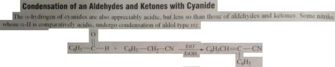 12 condensation of aldehydes and ketones with cyanide
