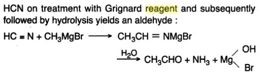 14 HCN with grignard reagent gives aldehyde