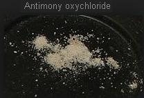 19 SbOCl Antimony oxychloride is white
