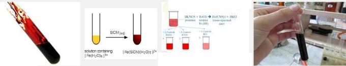 2 FeCl3 + KSCN Fe(CNS)3 (blood red) KCN
