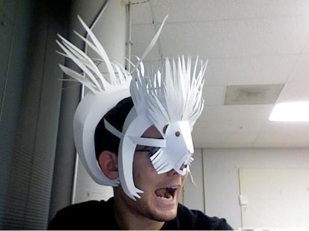 2b man with porcupine mask