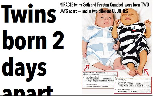 2k Twins born 2 days apart in different countries