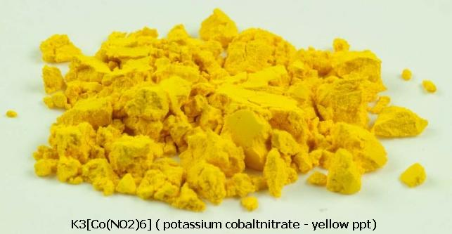 3 K3[Co(NO2)6] potassium cobaltnitrate yellow ppt