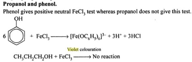 36b Phenol gives Violet colour with FeCl3 propanol does not