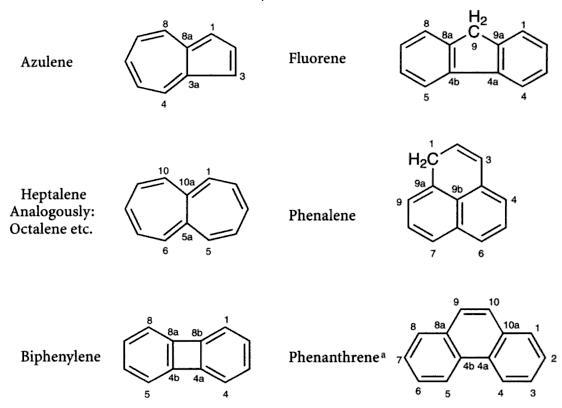 38 Azulene Fluorene phnalene biphenalene phenanthrene